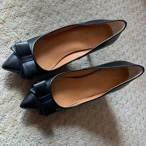 J. CREW FACTORY   Black Bow Heels (Size 7) EUC